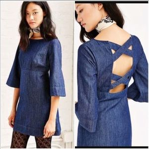 UO Cooperative Brooklyn Bell Sleeve Denim Dress XS